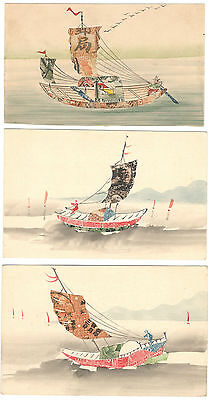 Three Early Chinese Stamp Montage Postcards With Junk Boat