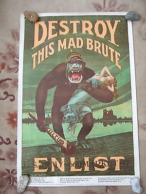 "Genuine Vintage 1960's 70's Ww1 Poster - Destroy This Mad Brute - 30"" X 20"""
