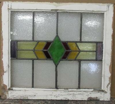 """OLD ENGLISH LEADED STAINED GLASS WINDOW Pretty, Abstract Geometric 23"""" x 20.25"""""""