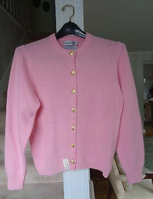 Vintage Braemar Pink Lambswool Sweater with Gold Buttons - Never Worn
