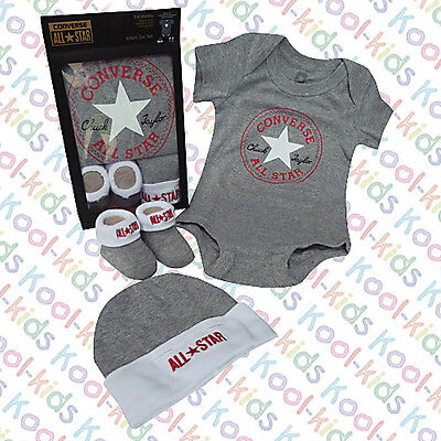 Converse Baby Boys Grey Vest, Hat & Booties  Boxed 0-6 Months  New