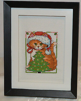 Sweet, Framed, Finished Cross Stitch - Ginger Cat /Kitten With Christmas Tree