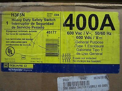 NEW IN BOX Square D H365N Heavy Duty Safety Switch 600V 400A 3P