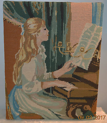 Mounted For Framing - Vintage Finished Needlepoint Girl / Lady Playing Piano