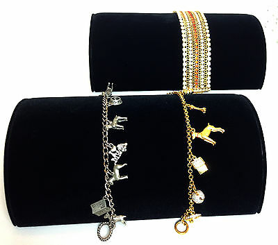 Two  Black Velvet Half Moon Bracelet Watch Jewelry Display Showcase