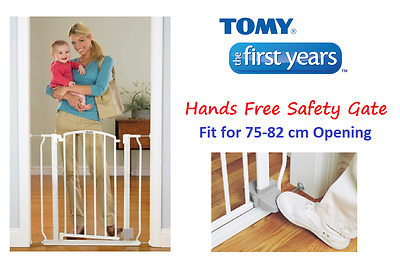 NEW FIRST YEAR Baby Pet Safety Security Stair Hands Free Barrier Gate 75~82cm