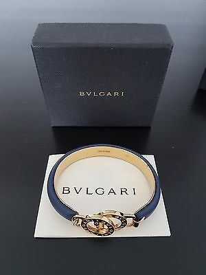 New Bvlgari Iconic Calf Leather Gold Plated Bracelet With Box
