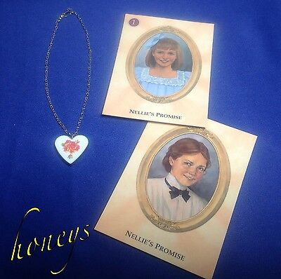 Authentic American Girl Doll Jewelry NELLIE'S FLOWER HEART NECKLACE and Cards