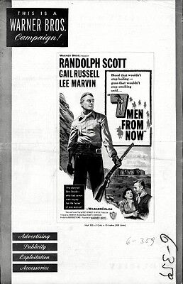 7 MEN FROM NOW pressbook, Randolph Scott, Gail Russell, Lee Marvin