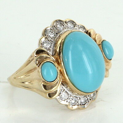 Turquoise Diamond Cocktail Ring Vintage 14k Gold Estate Fine Jewelry Heirloom