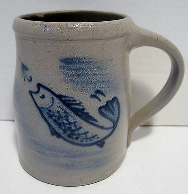 "Rare 1993 ROWE POTTERY WORKS~RPW~VINTAGE Handmade Salt Glazed FISH Mug~4.5"" Tall"