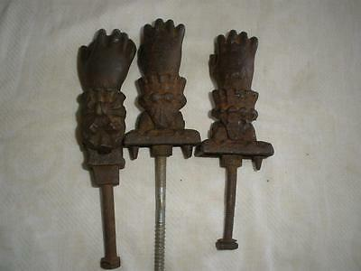 Victorian Door Knocker Ladies Hand Cast Iron Antique set of 3