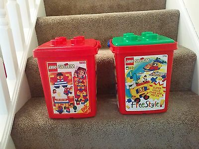 1990's Vintage LEGO Storage Boxes With Carry Handle EMPTY TUBS