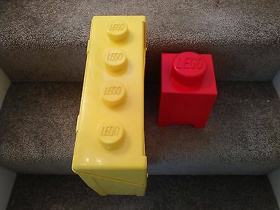 2x  Official LEGO Storage Boxes Studs EMPTY TUBS