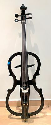 BLACK Electric CELLO KIT Solidwood with accessories inc; Bow, stand+Amp+leads