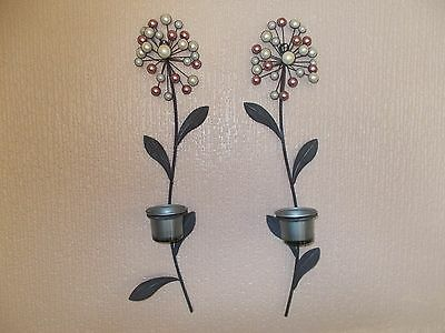 SET OF 2 x BLACK METAL WALLART HANGING TEA LIGHT CANDLE HOLDERS Free Shipping UK