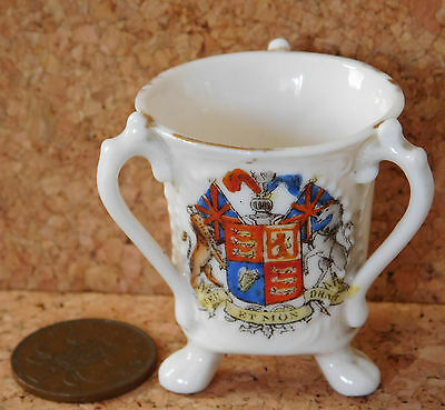 Crested china tyg Royal coat of arms antique ornament miniature 3-handled cup