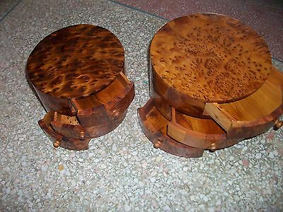 2 African thuya scent root wood cosmetic jewelrysewing Box 3 Drawers Walnut Like