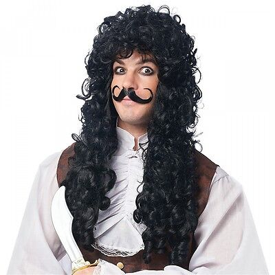Captain Hook Costume Wig & Mustache Adult Pirate Halloween Fancy Dress