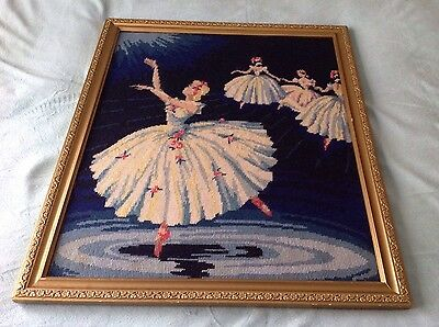 Completed Framed Ballerina Tapestry