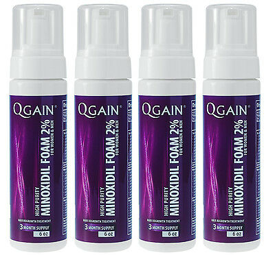 4 X QGAIN MINOXIDIL FOAM 2% 12 Months Supply For Women & Men FREE SHIPPING