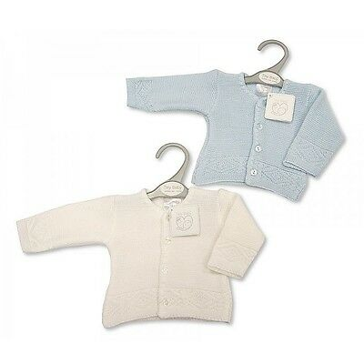 Premature preemie Baby Boy Tiny  Clothes Cardigan White Blue 3-8lbs Little-Mirac