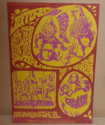 Original Bg 88 Airplane Charlatans Blue Cheer Fillmore Family Dog Era Poster