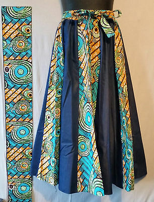 Women Ankara Denim Maxi Skirt w// African Wax Fabric 2 Pocket Belt One Size P#04