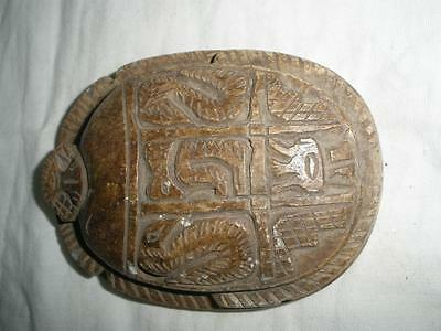 Antique Egyptian Carved Stone Scarab with Symbols / Hieroglyphics lot 4
