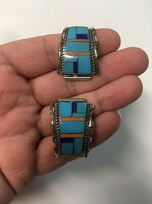 Native American Navajo Turquoise Multistone Inlay Large Watch Tips Watch Band #4