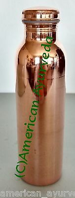900ml Pure Copper Water Bottle, Cup, Tumbler Joint Free, Leak Proof Lid Ayurveda