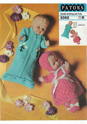 "Vintage Knitting Pattern  Copy - To Knit For 12 "" Dolls , Also Sleeping Bag"