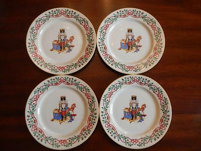 "Four (4) EUC 8"" Block Spal Whimsy Christmas Salad Plates 36375 1992 RETIRED!"