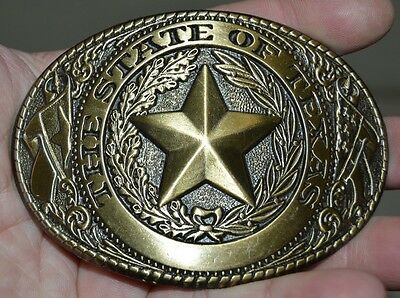 Vintage The State of TEXAS Star Detailed Brass Tone Belt Buckle MINTY