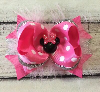 Handmade Hot Pink Minnie Mouse Feather Boutique Stacked Hair Bow