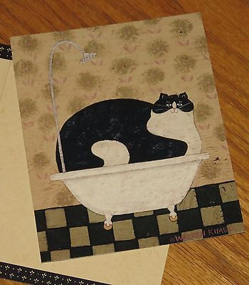 Cat In Tin Tub Warren Kimble Artwork 2007 Lang Deluxe 5x6 Note Cards 4ct