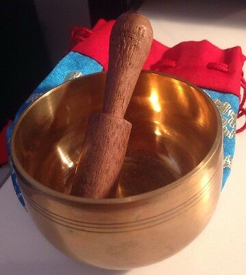 75mm (7.5cm) Dia Singing Bowl - Brass - New - With Wooden Hitter and Pouch