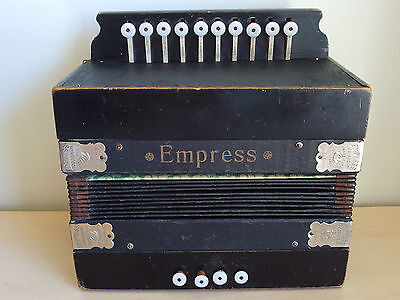 Rare Working Vintage German EMPRESS ACCORDION Accordeon Made in SAXONY