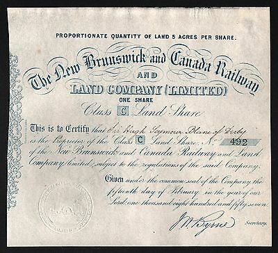 1857 The New Brunswick and Canada Railway & Land Company