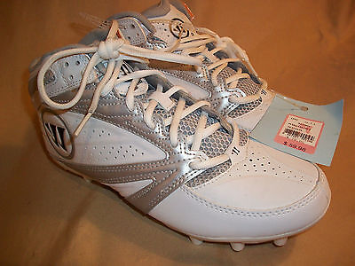 New!  size 9.5  mens  WARRIOR Mid Lacrosse Soccer Baseball white Cleats Shoes