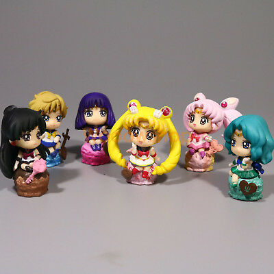 "Sailor Moon Ice Cream Party Petit Chara Land 2"" Anime Figure 6pcs Set New Loose"