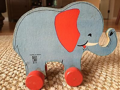 #20 Blue Elephant Animal Cut Out Wooden Push Pull Toy Fisher Price VTG 1942 Wood