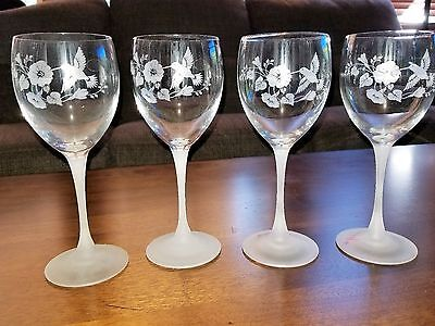 4  Glass Avon HUMMINGBIRD Water Goblets Frosted Stems 8-1/4""