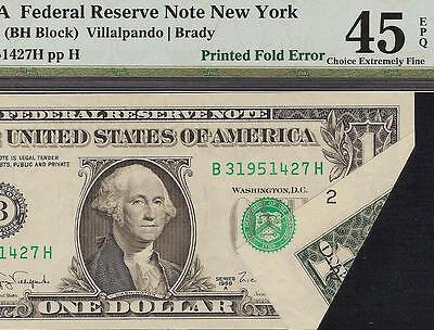 1988A $1 Dollar Bill Printed Fold Error Note Currency Paper Money Pmg 45 Epq
