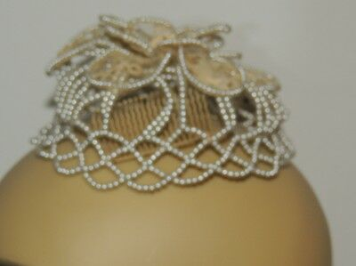 1950's Pearl / Lace Small Wedding Crown / Over the Bun Style