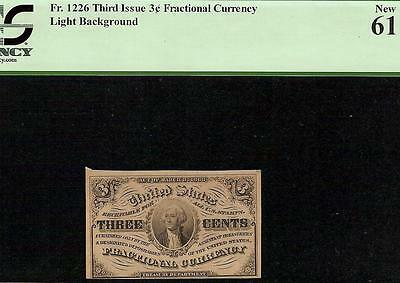UNC 1864 THREE 3 CENT FRACTIONAL CURRENCY NOTE CORNER PLATE NUMBERS Fr 1226 PCGS