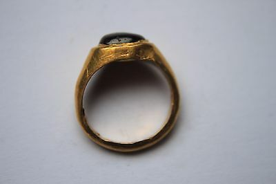 ANCIENT GREEK HELLENISTIC GOLD FINGER RING ORIGINAL RED GLASS/STONE 3rd CENT BC