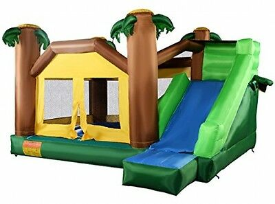 Costzon Inflatable Moonwalk Jungle Bounce House Jumper Bouncy Jump Bouncer