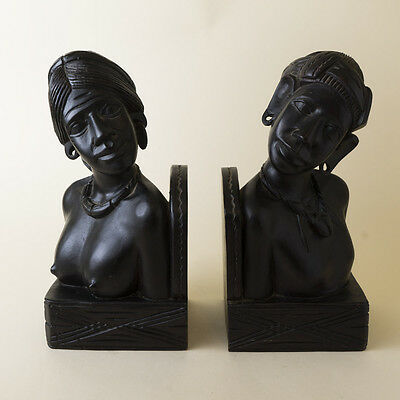 Vtg Carved Wood Igorot Bookend Set Philippines Nude Woman Bust Man Hunter Ifugao