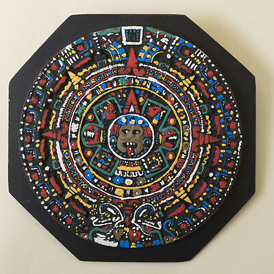Vtg Mayan Aztec Calendar Wall Plaque Hang Hand Painted Sun Stone Mexico Folk Art